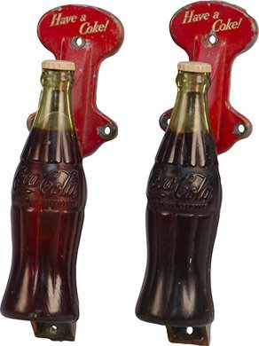 16: Lot Of 2 Vintage Coca Cola Bottle Shaped Door Pushe