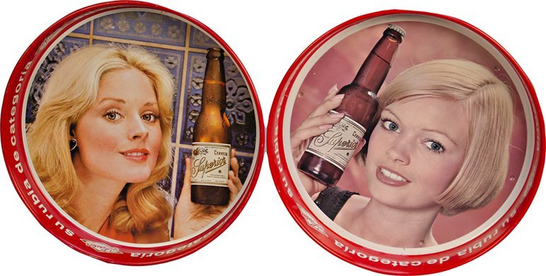 18: Lot Of 2 Superior Mexican Beer Round Tin Serving Tr