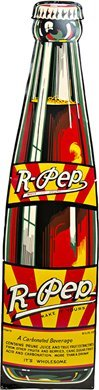 """23: """"R-PEP"""" Cola Bottle Shaped Embossed Tin Sign"""