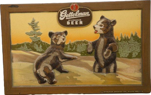56: A Gettelman Brewing Co. Brown Beer Embossed Sign