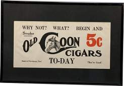 68 Lot of 2 Paper Old Coon Cigars Advertisements