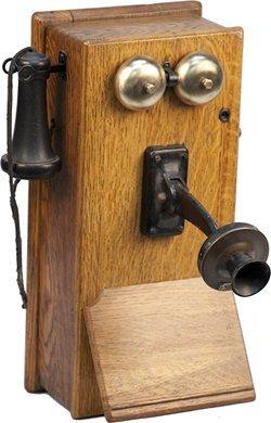 161: Antique Oak Western Electric Hand-Crank Telephone