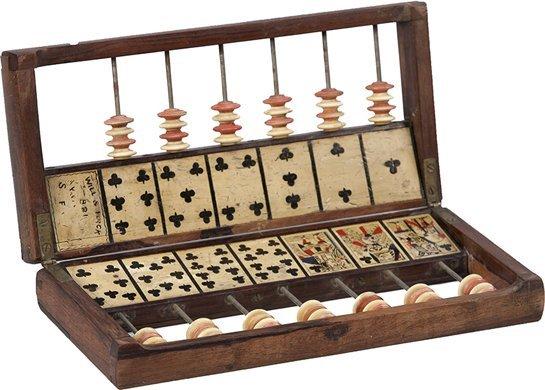 220: Antique Oak Will & Finck Faro Gambling Casekeeper