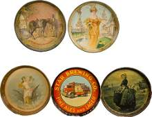 412: Lot Of 5 Beer Deep-Dish Round Tin Serving Trays: