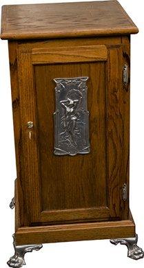 461: Oak Slot Machine Stand w/ Nude Girl Casting On Doo