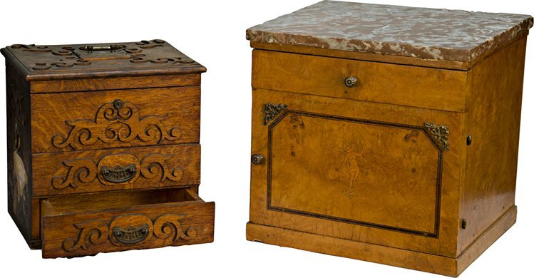 496: Lot Of 2 Storage Boxes/Tables: