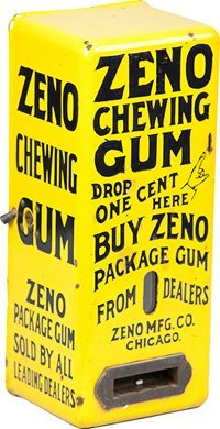 "510: 1 Cent Zeno MFG. Co. ""Zeno Gum"" Vending Machine c1"