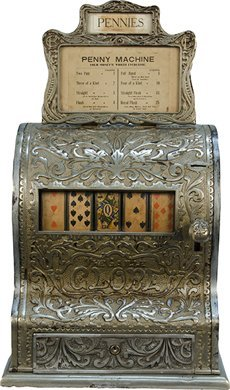 "700: Caille Bros. ""Globe"" Poker Hand 5-Reel Card Machin"