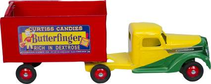 968: Vintage Metal Buddy 'L' Delivery Toy Truck & Trail