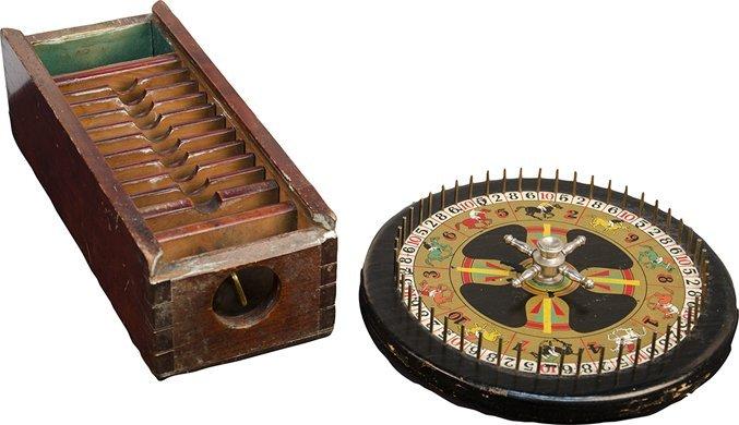 1051: Lot Of 2 Wooden Gambling Items:
