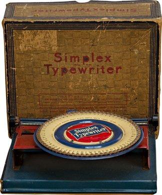 1052: Vintage Simplex Typewriter Number 240 Child's Met