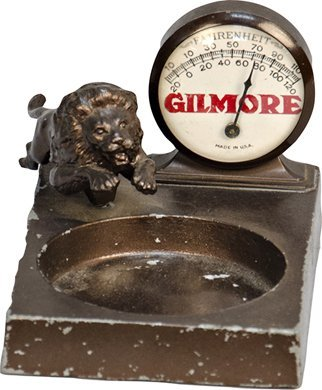 1053: Vintage Gilmore Store Counter Metal Thermometer