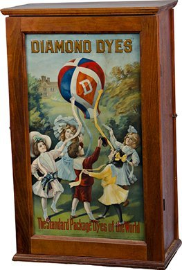 1054: Diamond Dyes Store Counter Wood Cabinet