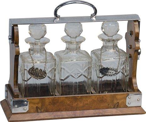 "1055: Early ""The Tantalus"" English Locking Liquor Caddy"