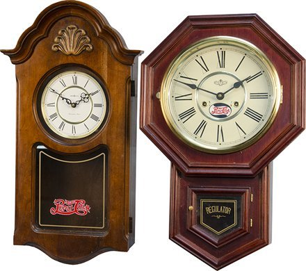 "1056: Lot Of 2 Wooden ""Regulator Style"" Wall Clocks"