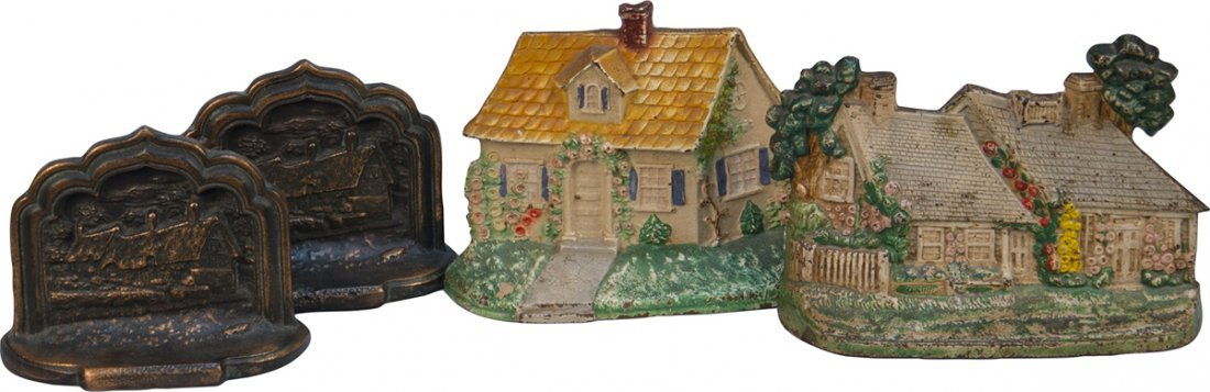 1057: Lot Of 2 Pairs Cast-Iron Figural House Book Ends