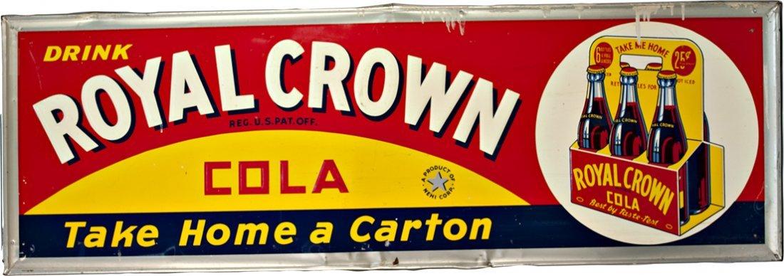 1062: Drink Royal Crown Cola Embossed Self-Framed Tin S