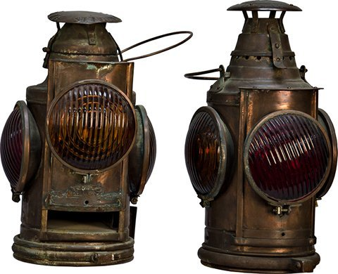 1065: Lot Of 2 Antique RailRoad Lantern's: