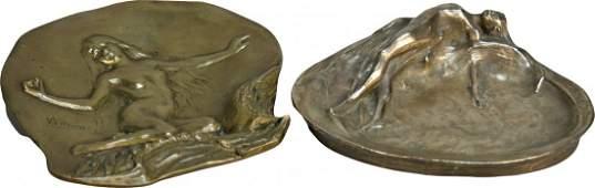 1270 Lot Of 2 Bronze Art Nouveau Nude Lady Items