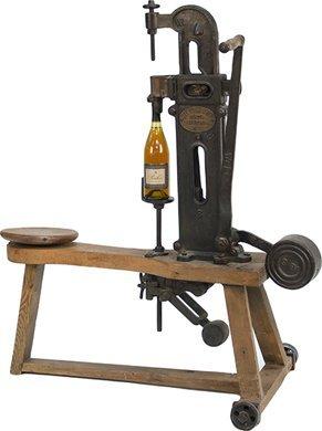 1400: Vintage Large Wood & Cast-Iron The Universal Wine