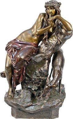 "1404: ""Mother Nature With Deer"" Figural Bronze Statue"