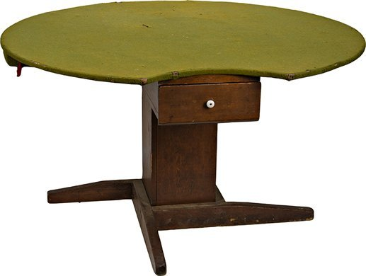 1498: Early Wood Round Felt Top Playing Card Table