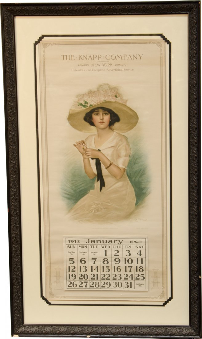 "5: ""Heart's Desire"" 1913 Advertising Calendar w/ Woman"