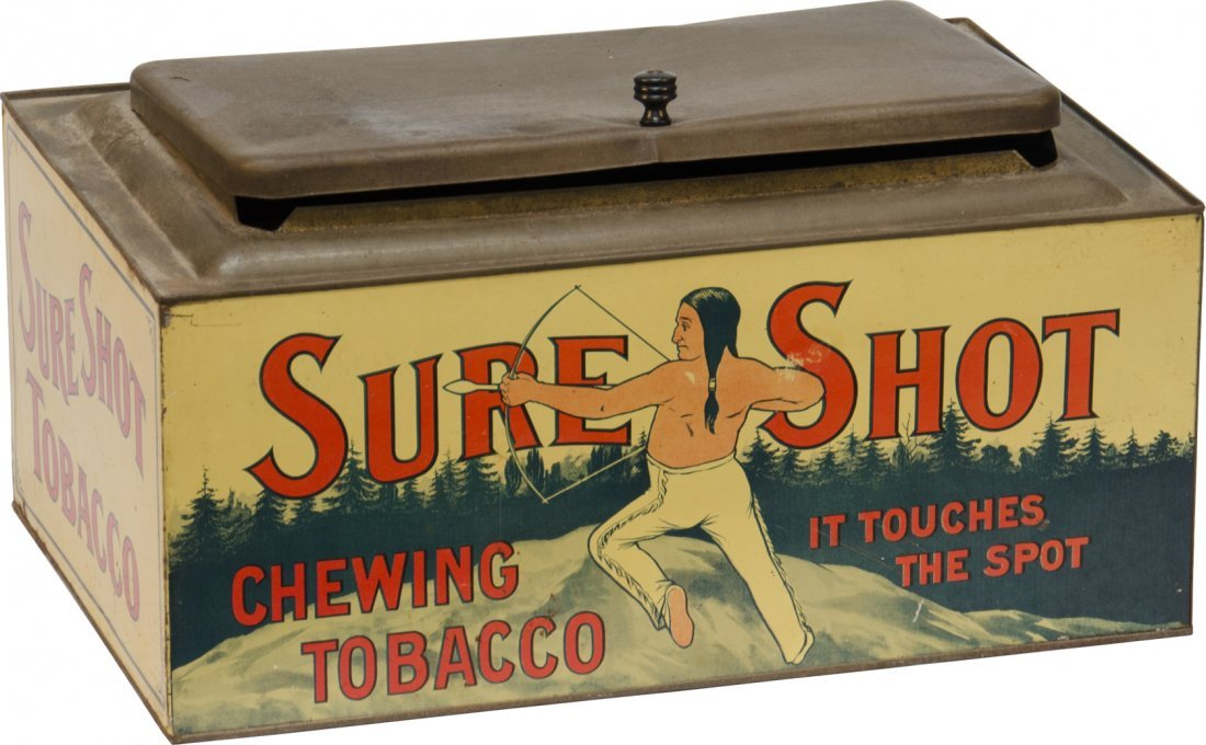 7: SURE SHOT Chewing Tobacco Rectangular Tin Container
