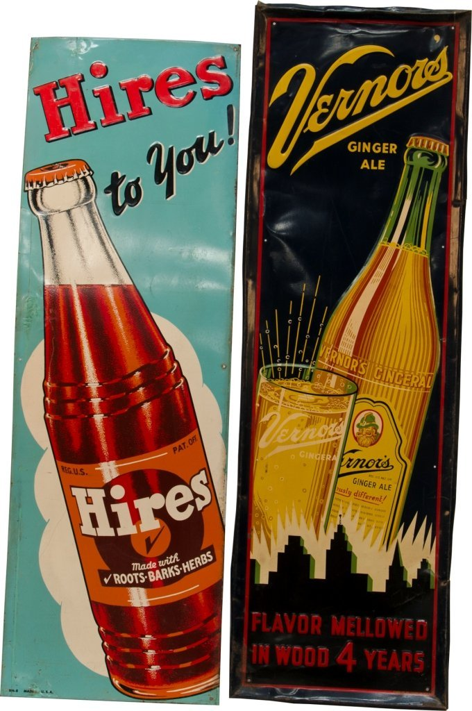9: Lot Of 2 Embossed Tin Signs: