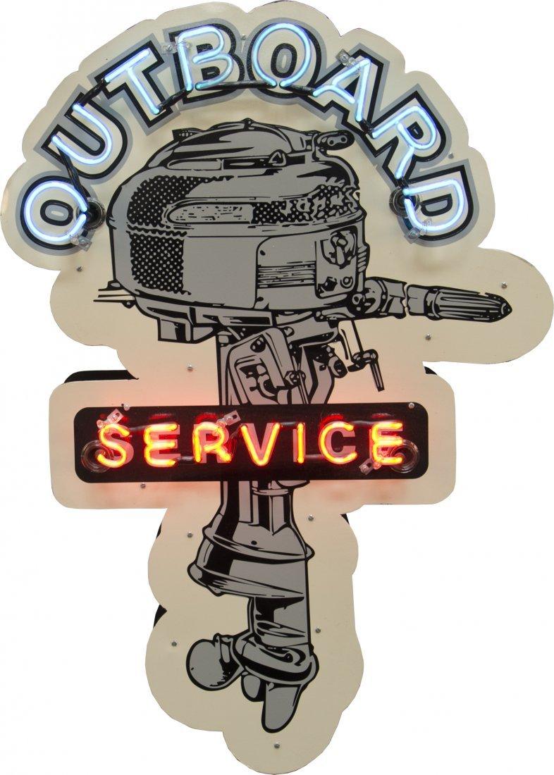 "10: ""Outboard Service"" Boat Motor Die-Cut Porcelain & N"