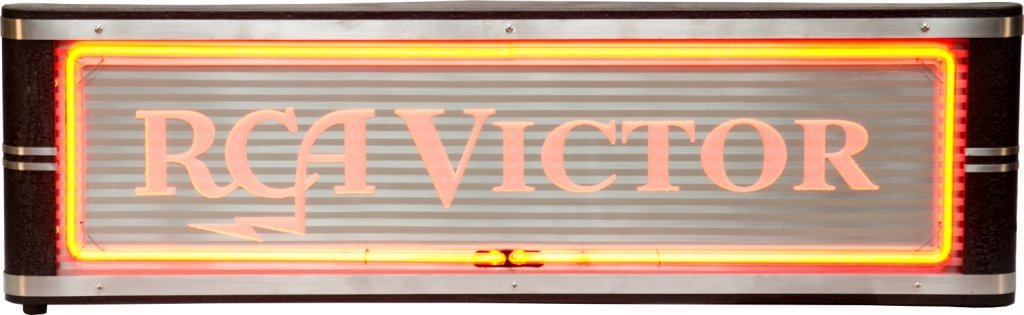 "11: ""RCA Victor"" Light Up Neon Metal Box Sign - 33"" x 1"
