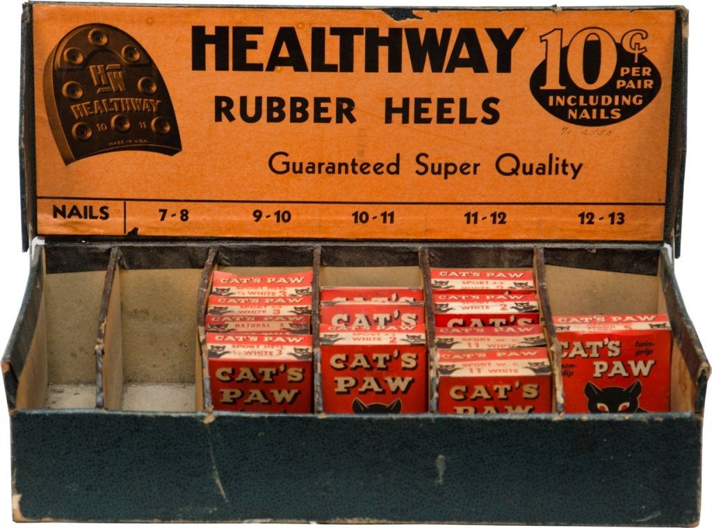12: HEALTHWAY 10 Cent Cat's Paw Rubber Heels Counter Di