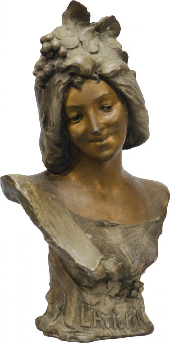 """20: Spelter Bust Statue of Woman """"L' Automne"""" -"""