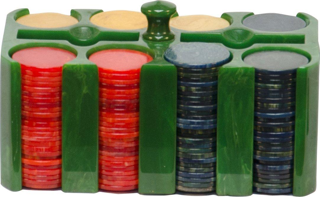 22: Rectangular Green Bakelite Catalin Poker Chip Caddy