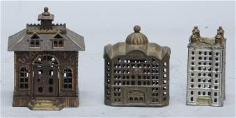 78: Lot Of 3 Early Cast-Iron Still Bank Buildings: