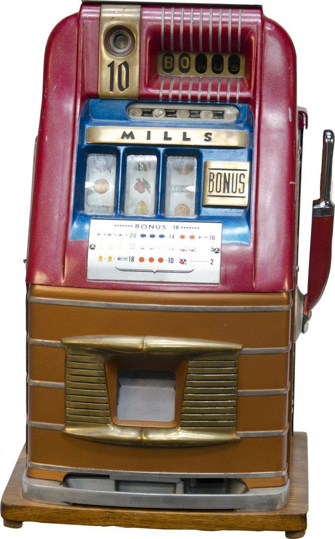 135: 10 Cent Mills Novelty Hi-Top Bonus Slot Machine