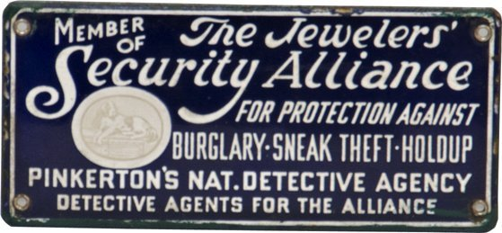 312: Early Pinkerton's Nat. Detective Porcelain Sign