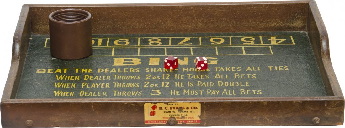 "314: Early ""BING"" Dice Game  H.C. Evans, mfg"