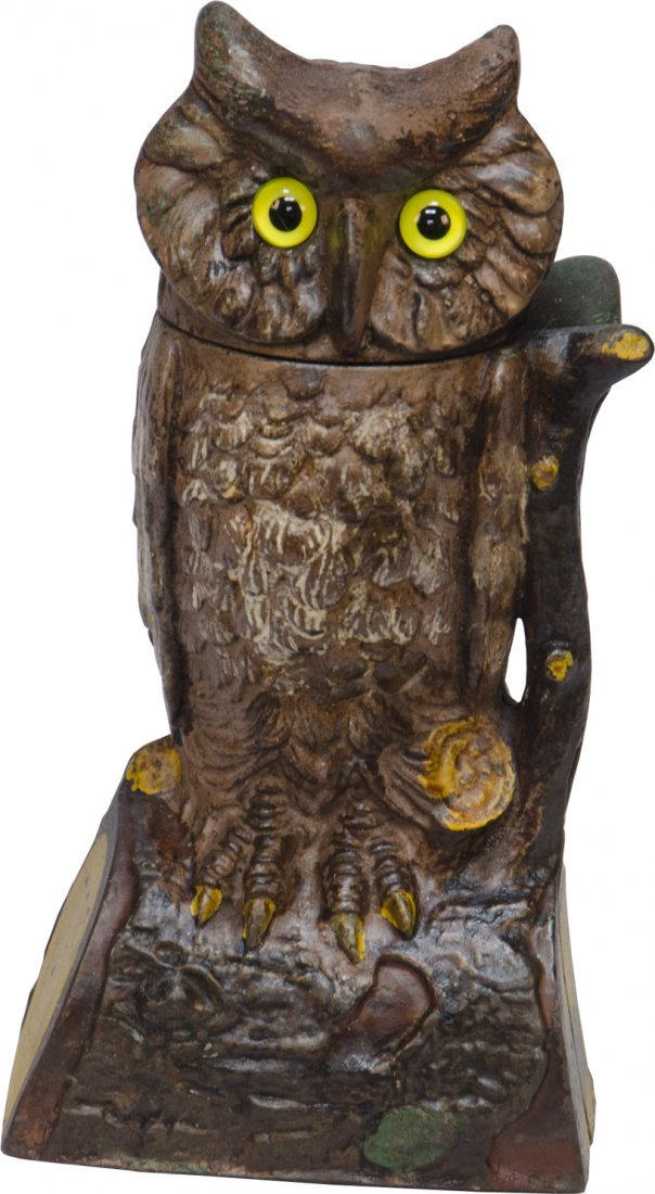 316: Antique Cast-Iron Owl Turns Head Mechanical Bank c