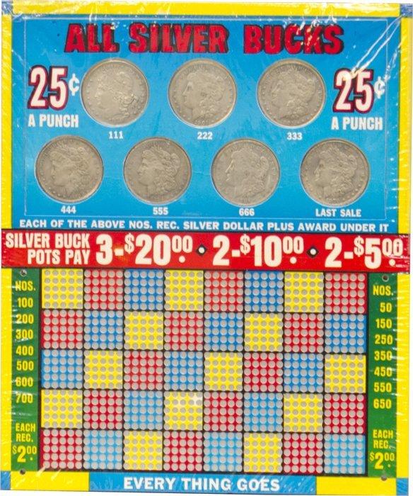 "855: ""All Silver Bucks"" N.O.S. Punchboard"
