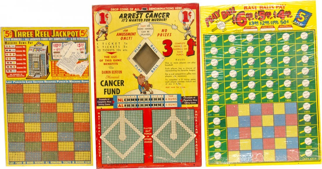 856: Lot Of 3 N.O.S. Punchboards