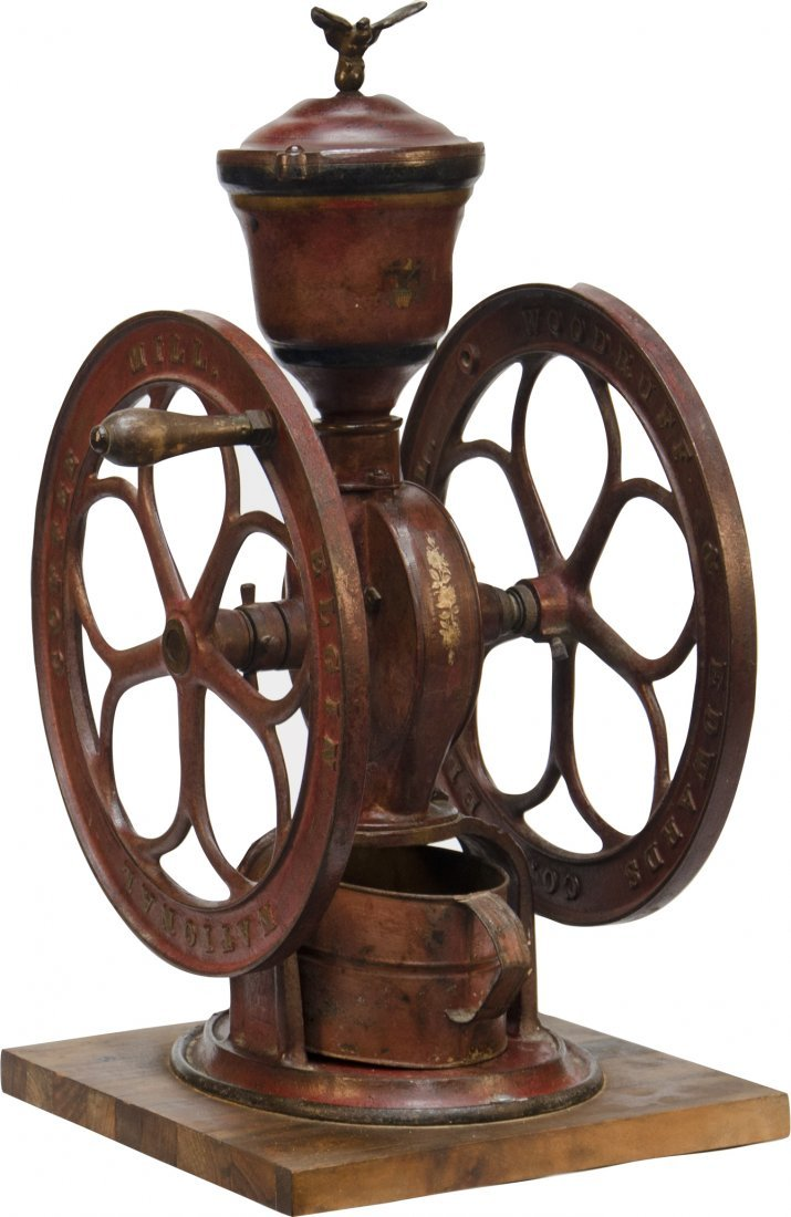 """856A: Early Cast-Iron """"Elgin National Coffee Mill"""" 2-Wh"""