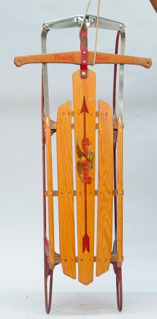 863: Flexible Flyer Sled, Wood & Metal Chrome c1950s