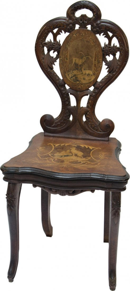 921: Early Inlaid Wood German Black Forest Musical Chai