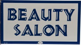 """BEAUTY SALON"" Double Sided Flange Porcelain Sign"