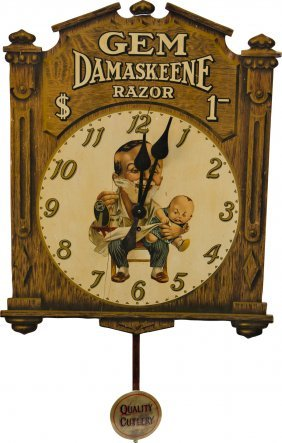 "Vintage ""Gem Damaskeene Razor"" Advertisement Clock"