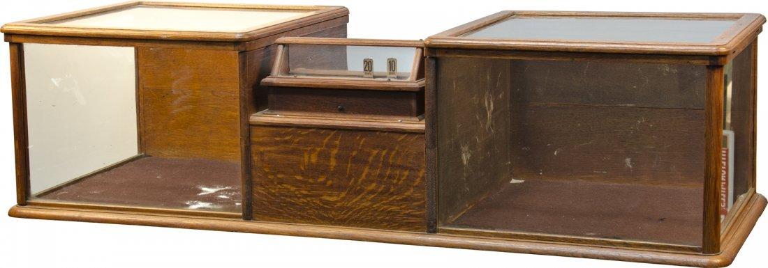 964: Antique Oak & Glass Combination Show Case And Cash