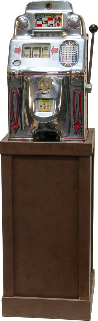 968: 10 Cent O.D. Jennings Chief Tic-Tac-Toe Slot Machi