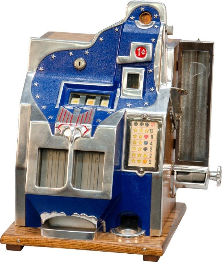"""970: 1 Cent Mills Novelty Q.T. 3-Reel Miniature Bell """"2"""