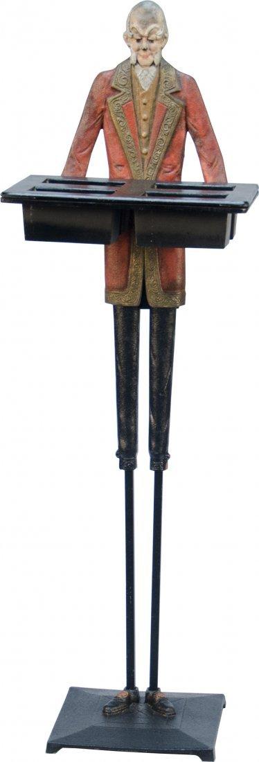 971: Early Cast-Iron Figural Gray Hair Butler Smoke Sta